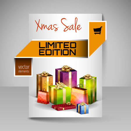 magazine design: Business flyer template with Christmas gifts. Vector design elements. Orange layout.