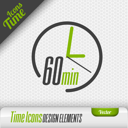 Time icon on the gray background. 60 minutes symbol. Vector design elements. Illustration