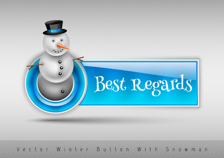 regards: Blue glossy button Best regards with cute snowman. Winter vector design elements. Illustration