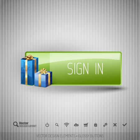 signup: Glossy button with gifts. Winter christmas special collection. Vector design elements.
