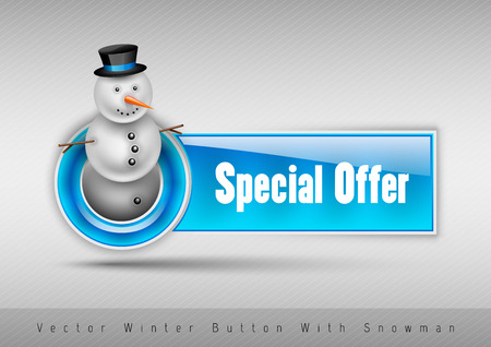 special offer: Blue glossy button Special offer with cute snowman. Winter vector design elements.