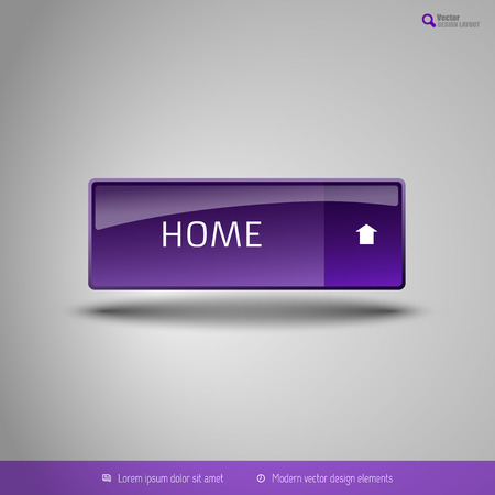 beautiful homes: Simple button on the neutral gray background with icons. Vector design elements. Special purple edition.