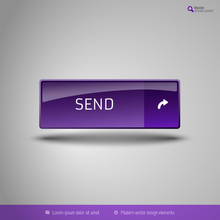 detach: Simple button on the neutral gray background with icons. Vector design elements. Special purple edition.