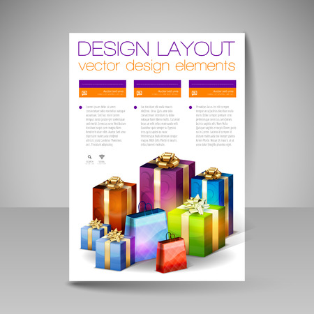 christmas gifts: Business flyer template with purple Christmas gifts. Vector design elements. Illustration