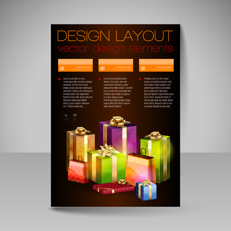 christmas gifts: Business flyer template with orange Christmas gifts. Vector design elements.
