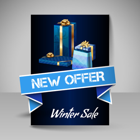 christmas gifts: Business flyer template with Christmas gifts. Vector design elements. Blue layout.