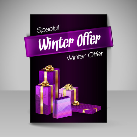 christmas banner: Business flyer template with Christmas gifts. Vector design elements. Purple layout.