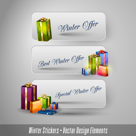 tabs: Business winter stickers with gifts. Vector design elements.