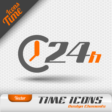 24: Time icon on the gray background. 24 hours symbol. Vector design elements.
