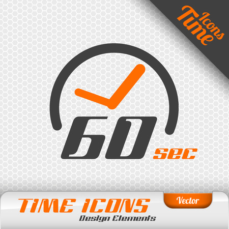 second: Time icon on the gray background. 60 seconds symbol. Vector design elements.