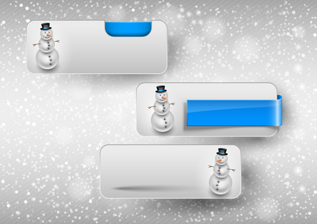 web button: Blue glossy button with cute snowman. Winter vector design elements. Illustration