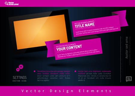 presentation screen: Business banner with modern display. Vector design elements for presentations, flyers, brochures, websites.