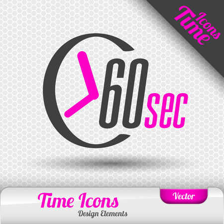 60: Time icon on the gray background. 60 seconds symbol. Vector design elements.