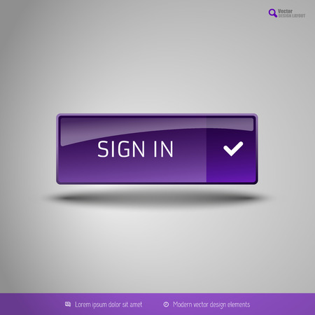 signup: Simple button on the neutral gray background with icons. Vector design elements. Special purple edition.