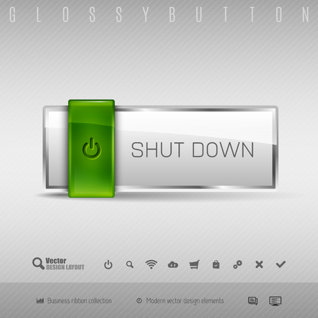 shutdown shut down: Green and gray glossy button with set of icons. Vector business design elements.