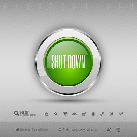 shutdown shut down: Chrome glossy button with green center. Vector business design elements.