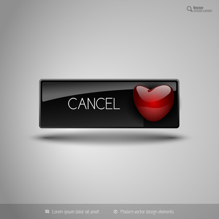 disagree: Black glossy button with red heart. Vector business design elements.