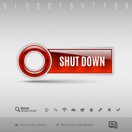 shutdown: Red modern plastic button with circle on the gray background. Vector design element. Illustration