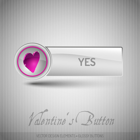 assent: Vector button with valentines symbols. Modern design elements with pink heart.
