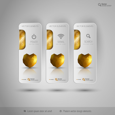 tabs: Valentine business tabs with gold polygonal heart. Vector design elements. Illustration