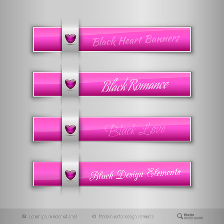 Pink business tabs, ribbons, with pink glossy heart. Modern vector design elements.