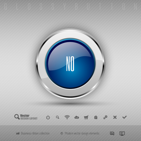 disapproval: Blue and gray glossy button with set of icons. Vector business design elements.