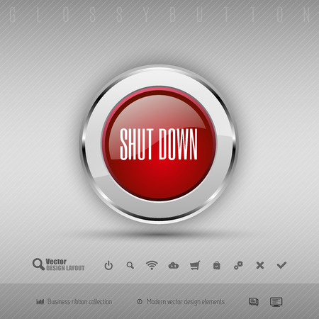 shutdown: Red and gray glossy button with set of icons. Vector business design elements.