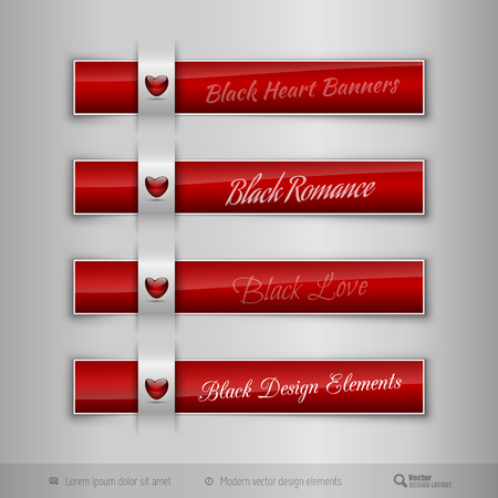 tabs: Red business tabs, ribbons, with red glossy heart. Modern vector design elements.