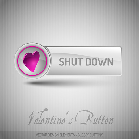 shut down: Vector button with valentines symbols. Modern design elements with pink heart.