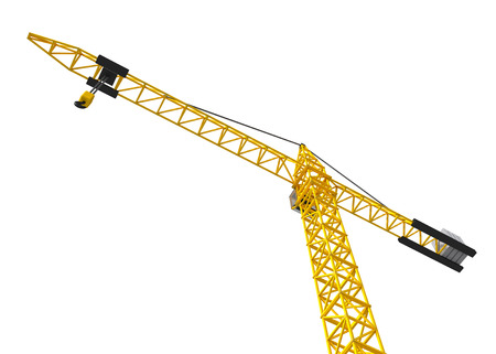 construction machinery: Big orange crane isolated on the white. Bottom view.