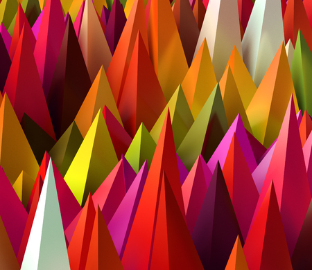 background color: Sharp random pyramids as abstract futuristic background. 3D rendered image. Stock Photo