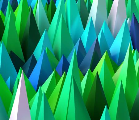sharp: Sharp random pyramids as abstract futuristic background. 3D rendered image. Stock Photo