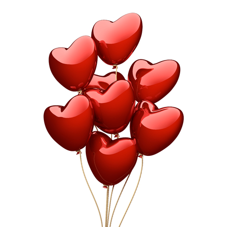 Red heart balloons isolated on the white background. 3D render image.