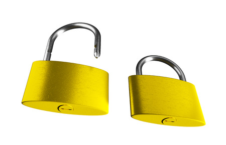 shackle: Locked and unlocked golden padlocks isolated on the white background. 3D render image.