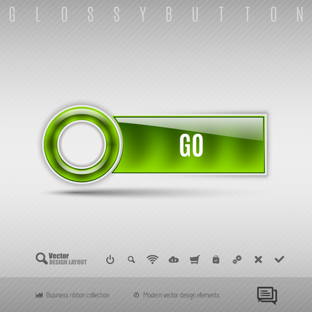 going green: Green modern plastic button with circle on the gray background. Vector design element.