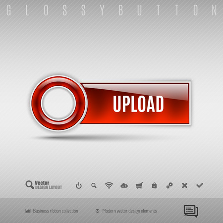 red button: Red modern plastic button with circle on the gray background. Vector design element. Illustration