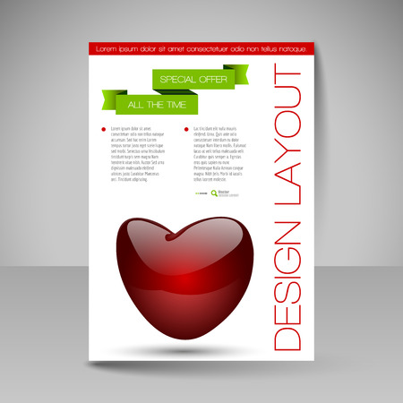 nitid: Business flyer template with glossy heart. Valentines day vector design elements.