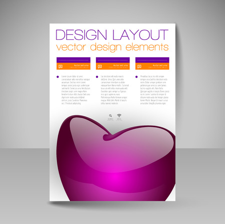 Business flyer template with glossy heart. Valentines day vector design elements.