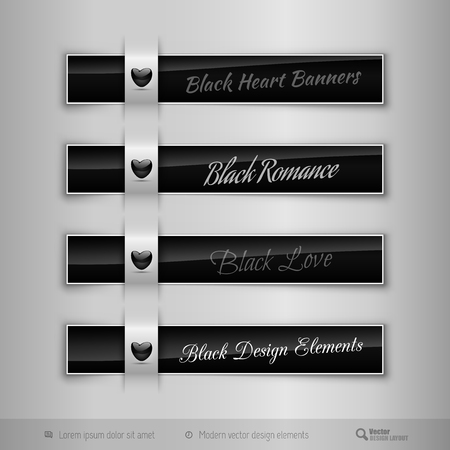 Black business tabs, ribbons, with black glossy heart. Modern vector design elements.