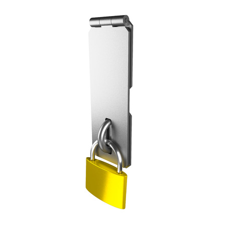 latch: Metal latch and yellow padlock isolated on the white.