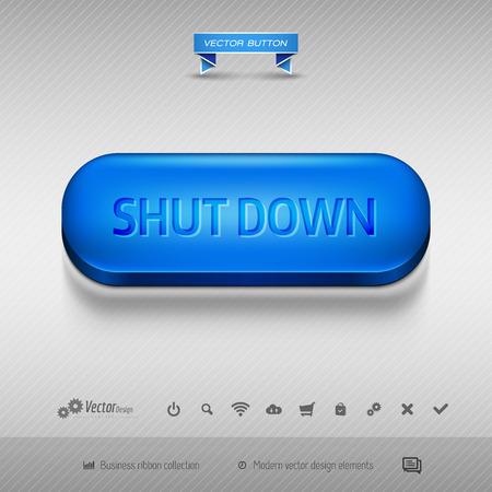 shutdown shut down: Business web buttons for website or app. Vector design elements.