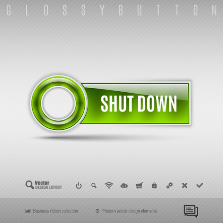 shutdown: Green modern plastic button with circle on the gray background. Vector design element.