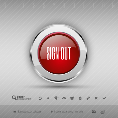 log off: Red and gray glossy button with set of icons. Vector business design elements.