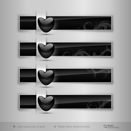 nitid: Black business tabs, ribbons, with black glossy heart. Modern vector design elements.