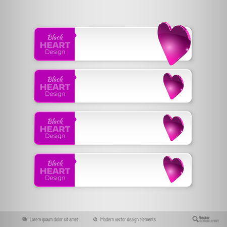 tabs: Business tabs with valentines hearts. Vector design elements for infographics.
