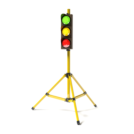 trafficlight: Mobile stoplight on the tripod isolated on the white. 3D rendered traffic light. Stock Photo