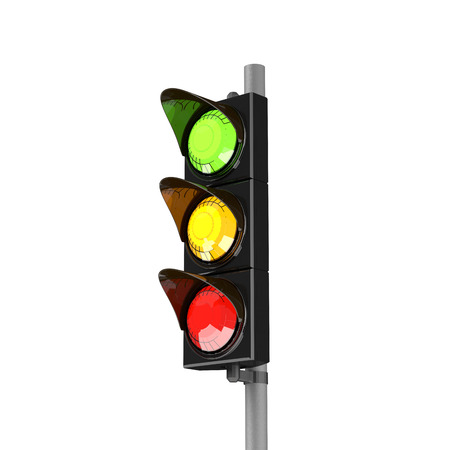 trafficlight: Traffic stoplight isolated on the white background. 3D traffic lights.