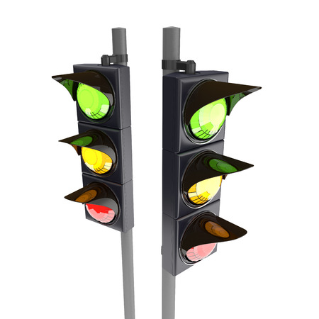 light red: Traffic stoplight isolated on the white background. 3D traffic lights.