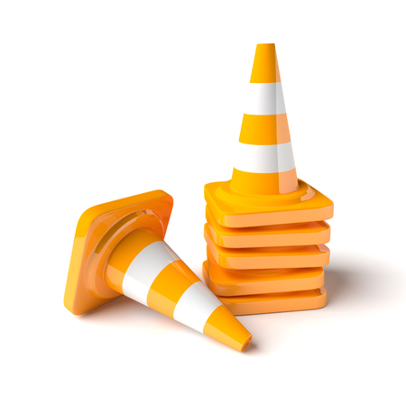 traffic   cones: Traffic cones on the white background. 3D rendered image.