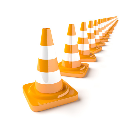 traffic   cones: Line of traffic cones on the white background. 3D rendered cone.